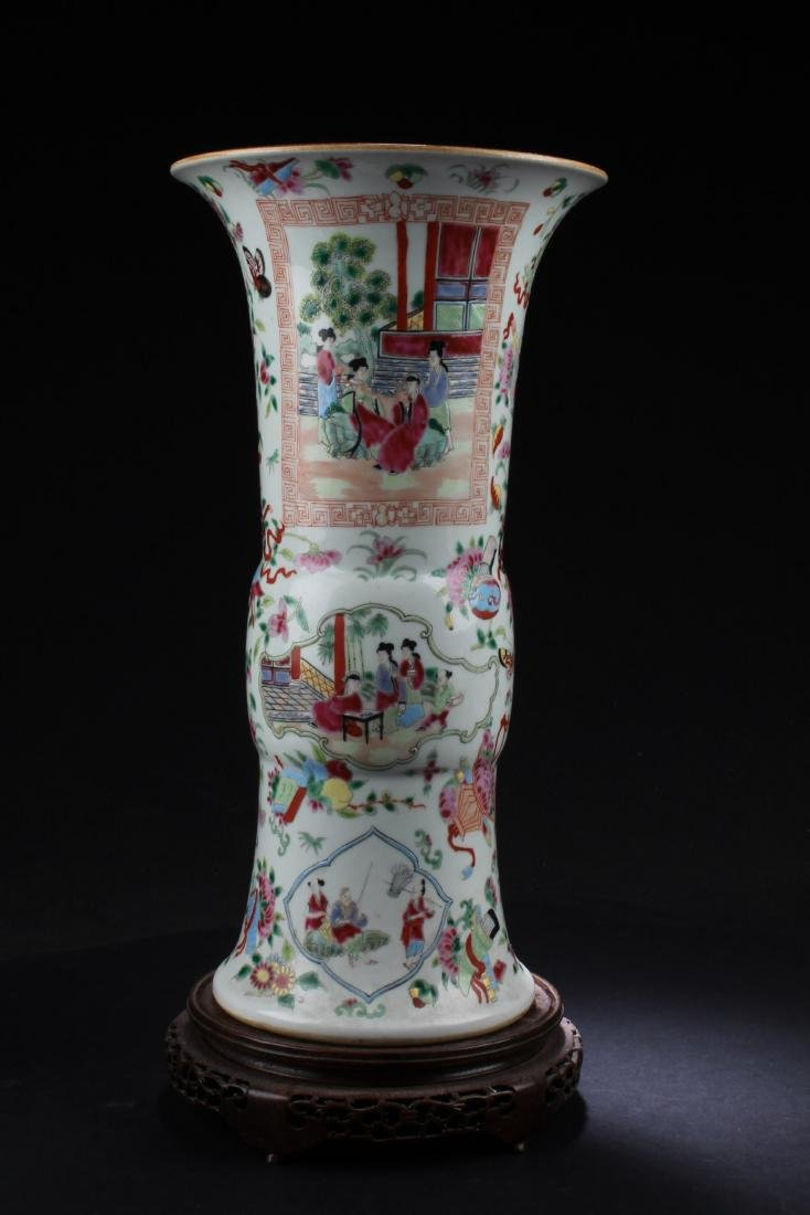 Chinese Famille Rose Porcelain Vase with Wooden Stand - 2