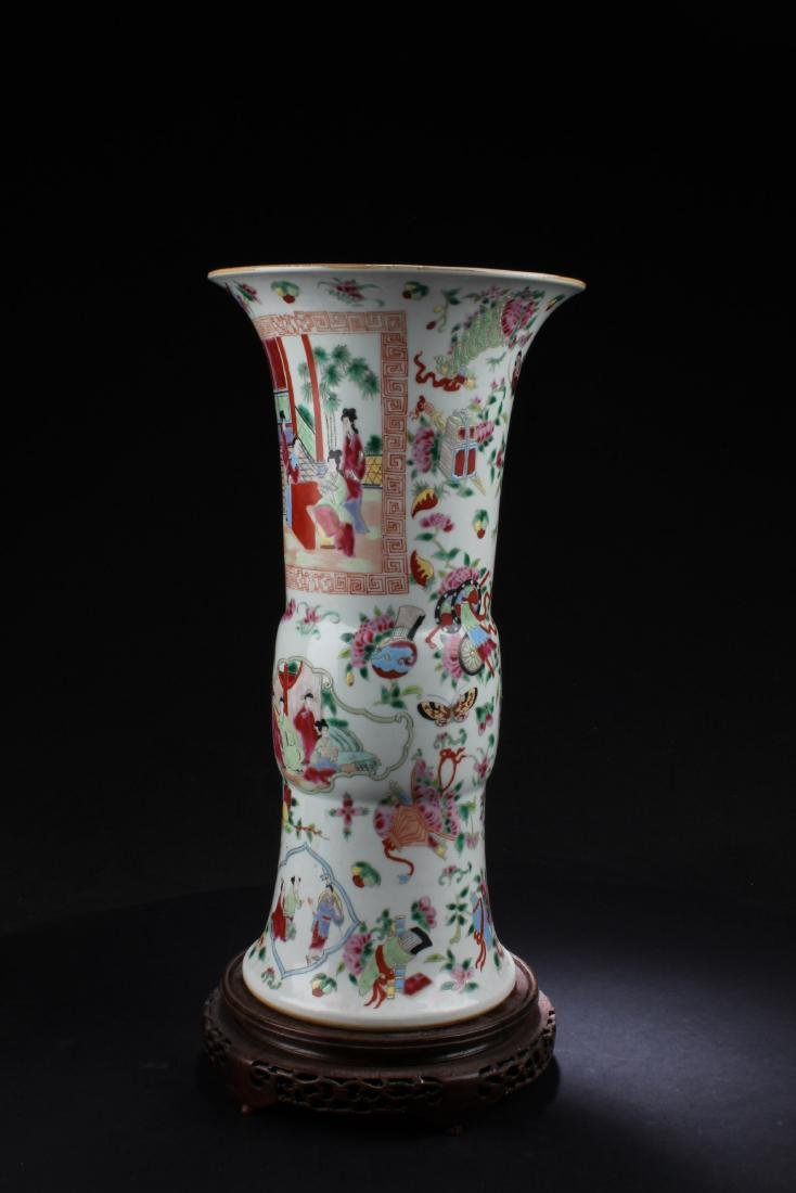 Chinese Famille Rose Porcelain Vase with Wooden Stand - 5