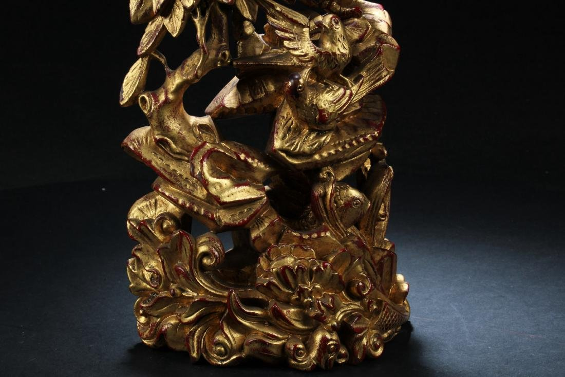 A Chinese Wooden Carved Ornament - 4