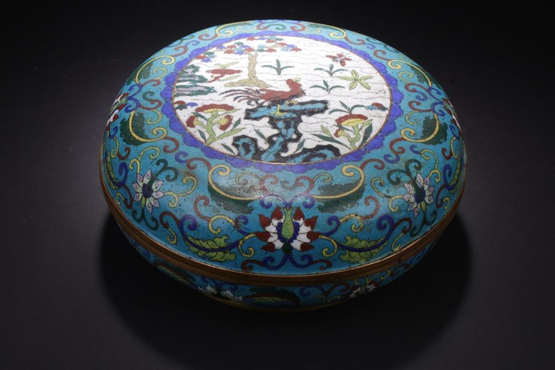 Antique Cloisonne Round Container