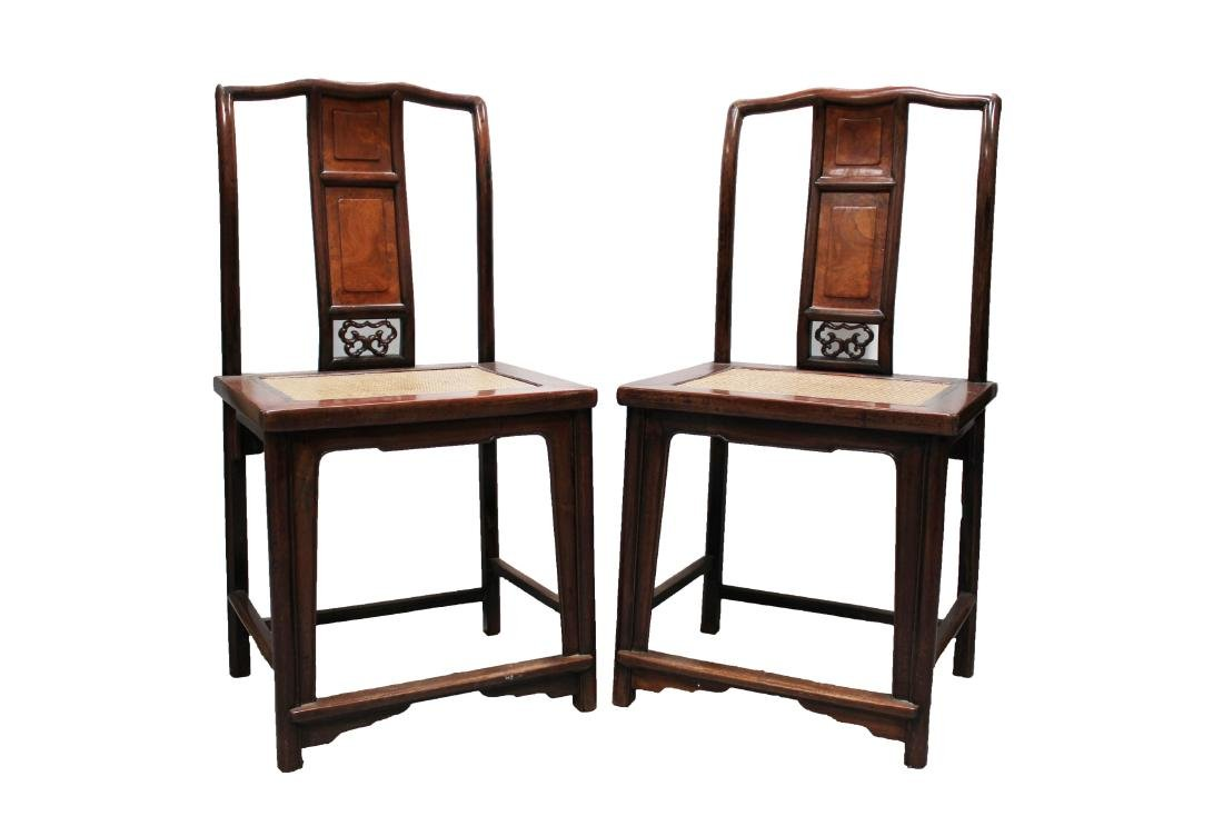 A Pair of Chinese Hardwood (possibly HuangHuaLi) Chairs