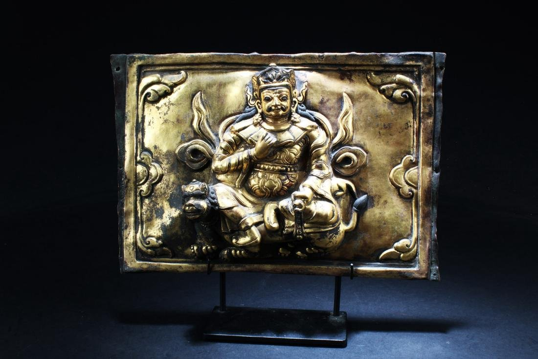 Gilt Bronze Tibetan Buddhist Sculpture Plaque