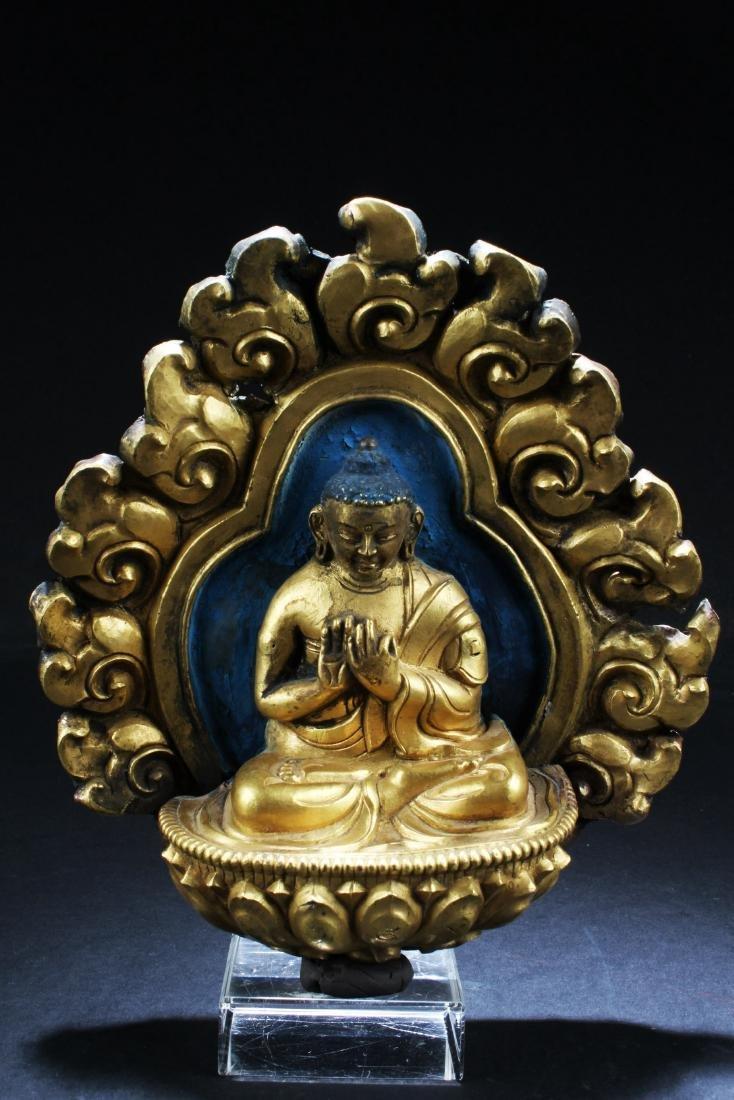 Gilt Bronze Buddha Sculpture Plaque