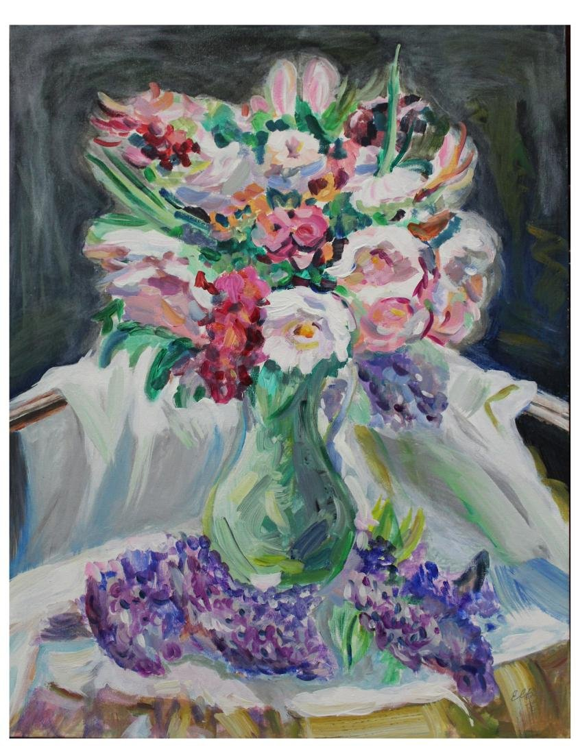 Acrylic on Canvas Paper Painting, Home flowers