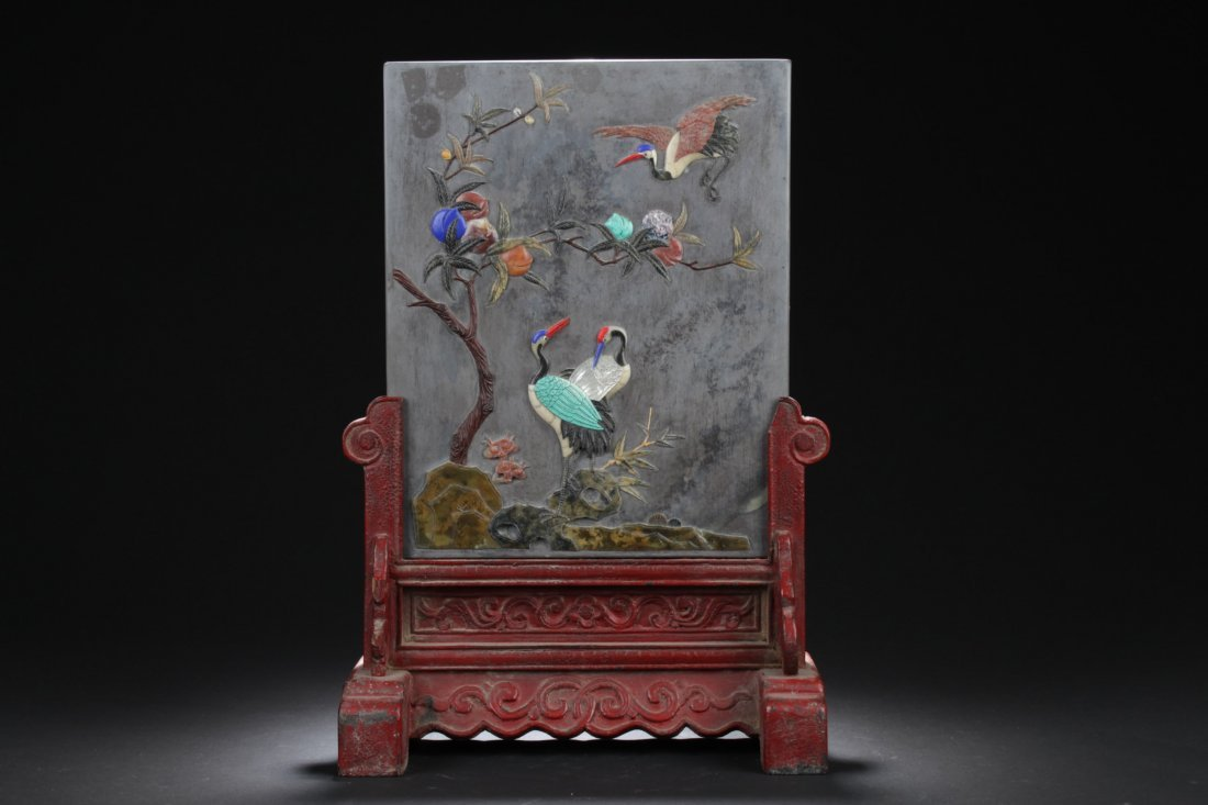 Antique Chinese Ink stone Table Screen
