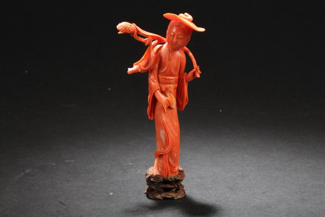 Antique Chinese Red Coral Carved Statue