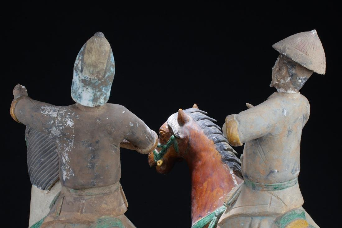 A Pair of Antique Pottery Statue, Ming Period - 6