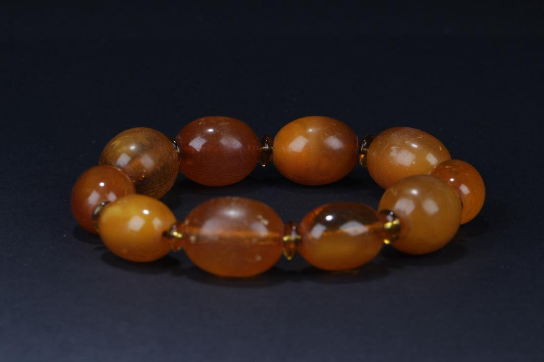 Antique Chinese Amber Bracelet