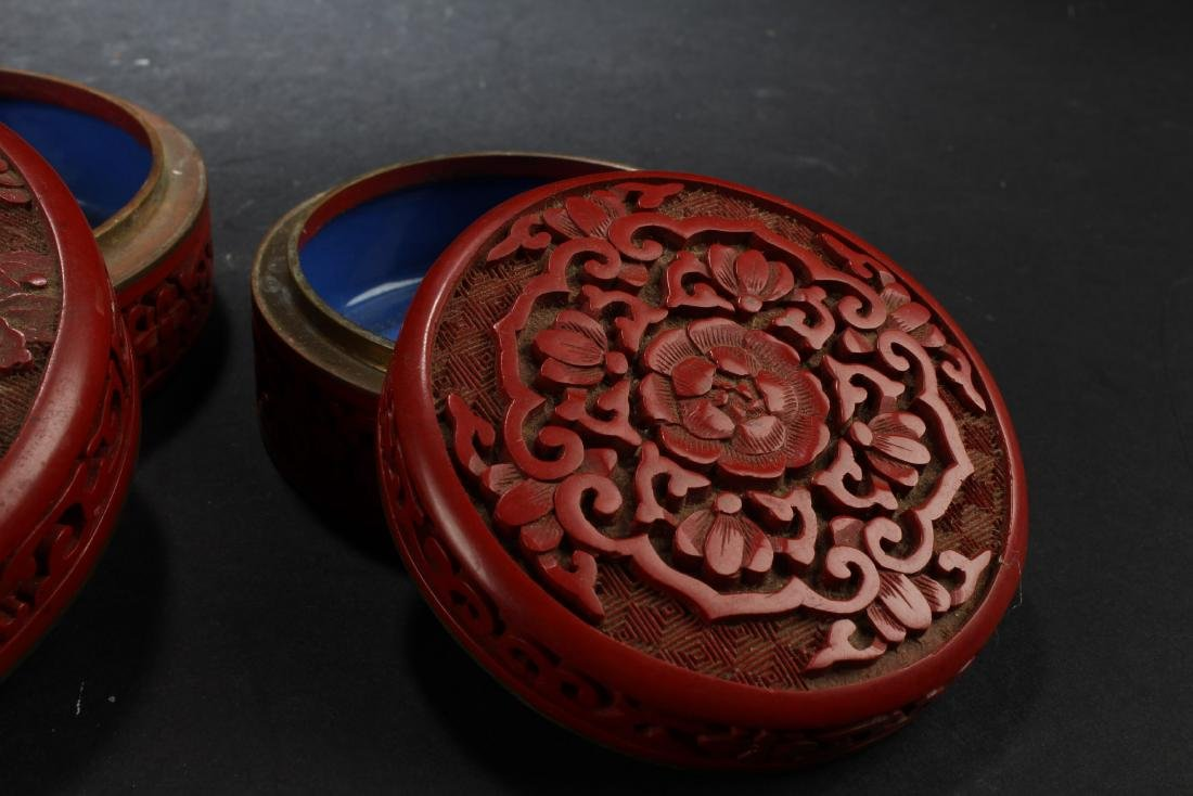 Two Cinnabar Color Porcelain Round Containers - 3