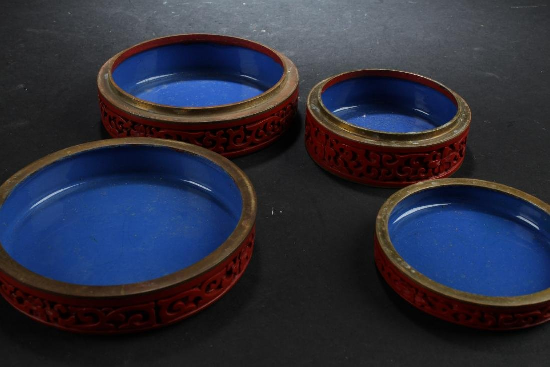 Two Cinnabar Color Porcelain Round Containers - 4