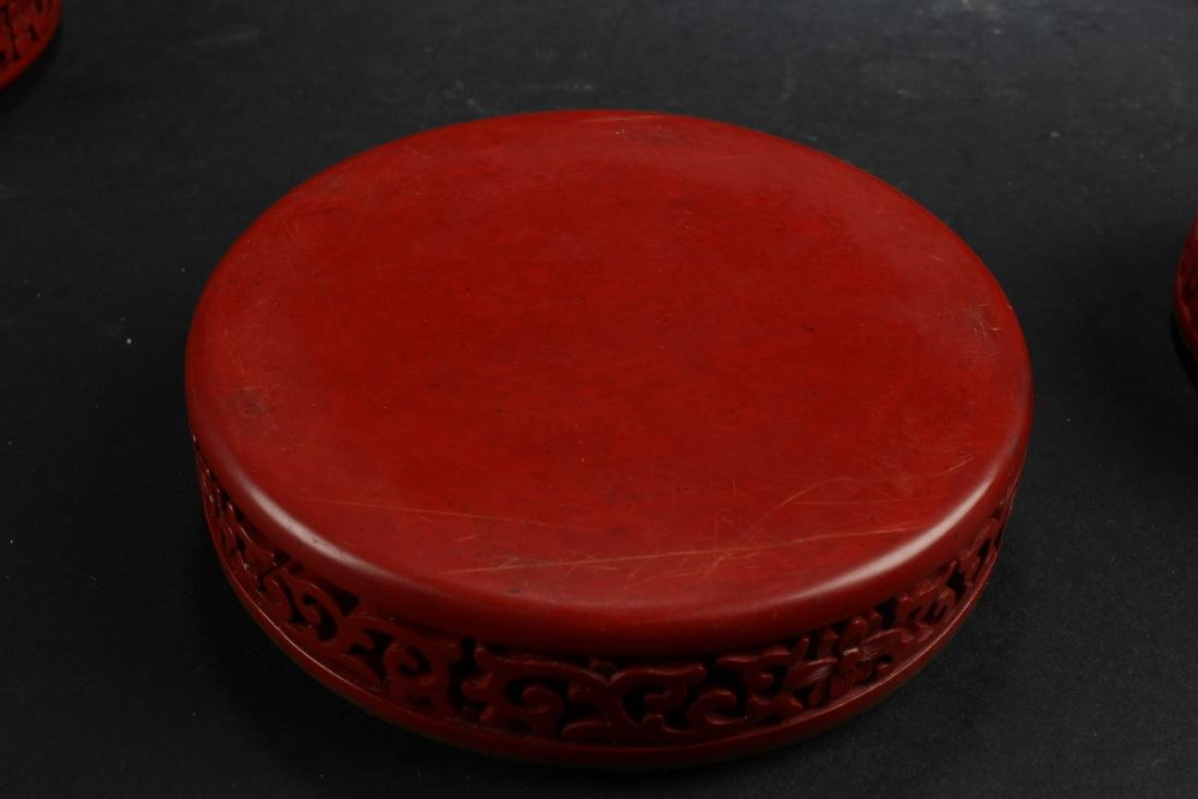 Two Cinnabar Color Porcelain Round Containers - 5
