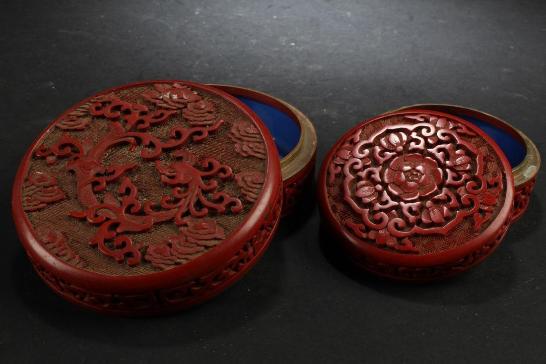 Two Cinnabar Color Porcelain Round Containers - 7