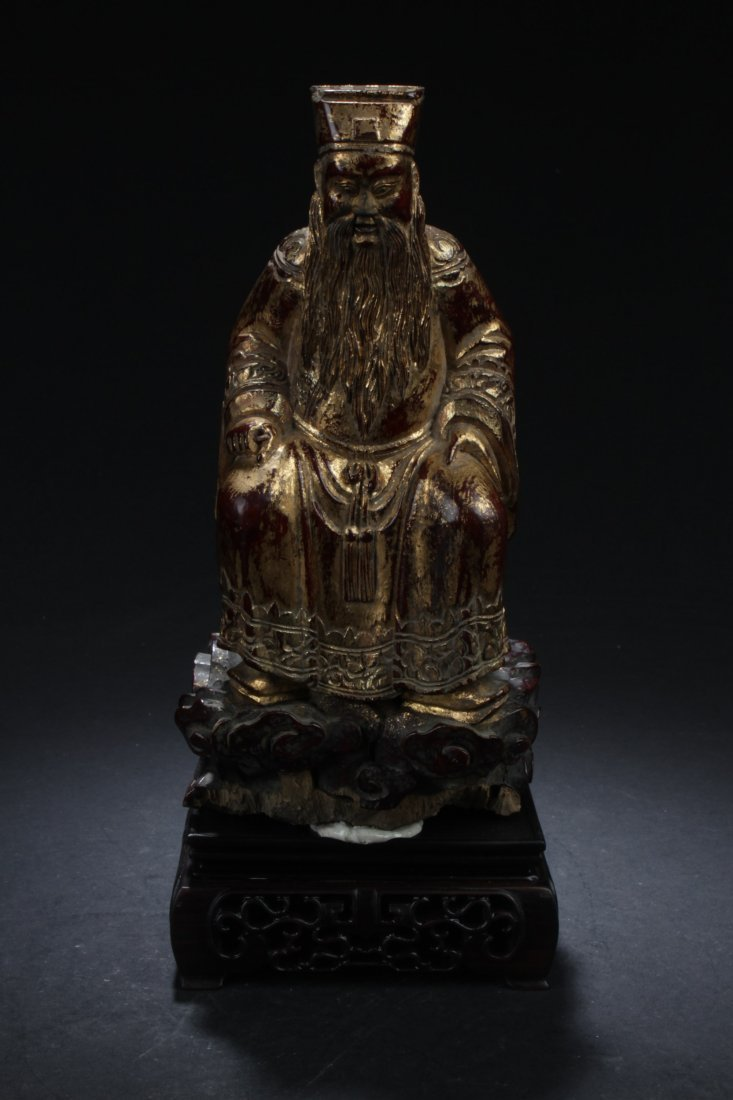 Antique Chinese carved gilt and wood Daoist figure
