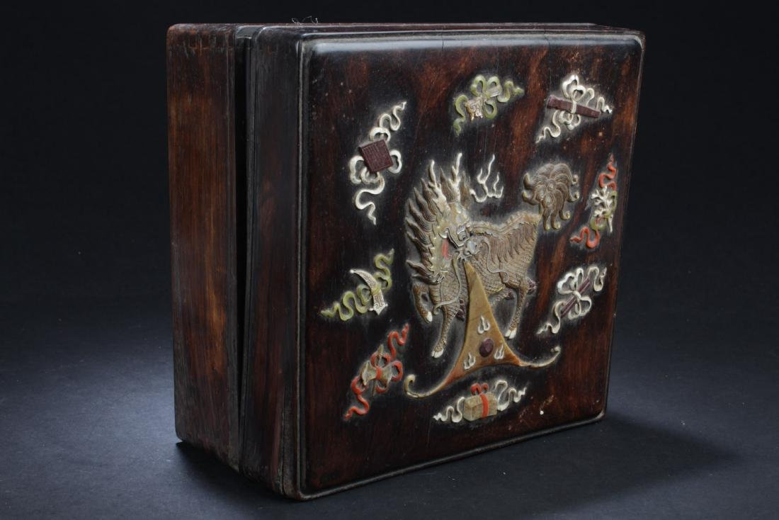Antique Chinese Hardwood Box with Mother Pearl and