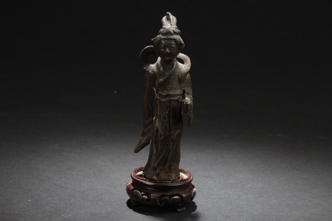 Antique Chinese Bronze Deity Statue