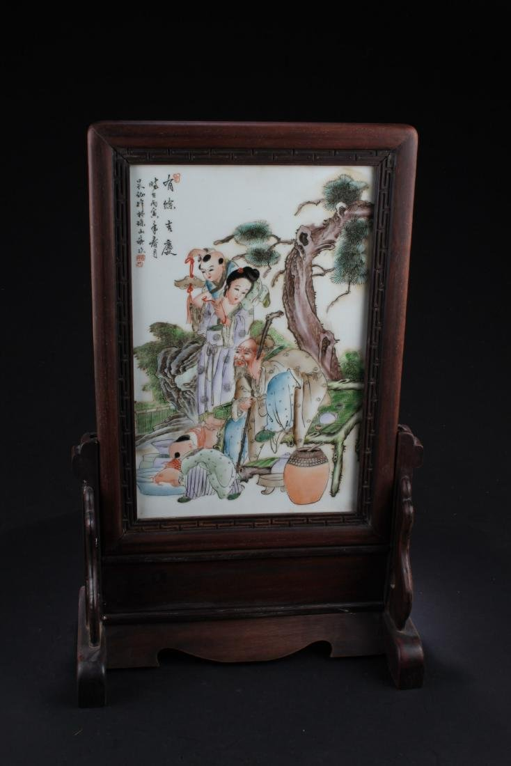 Chinese Hardwood Porcelain inlay Table Screen