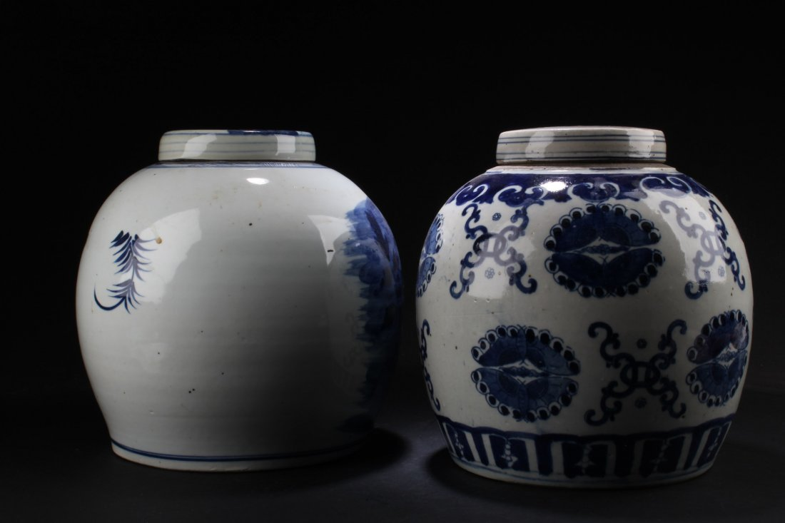 A Pair of Chinese Blue & White Porcelain Jars - 2