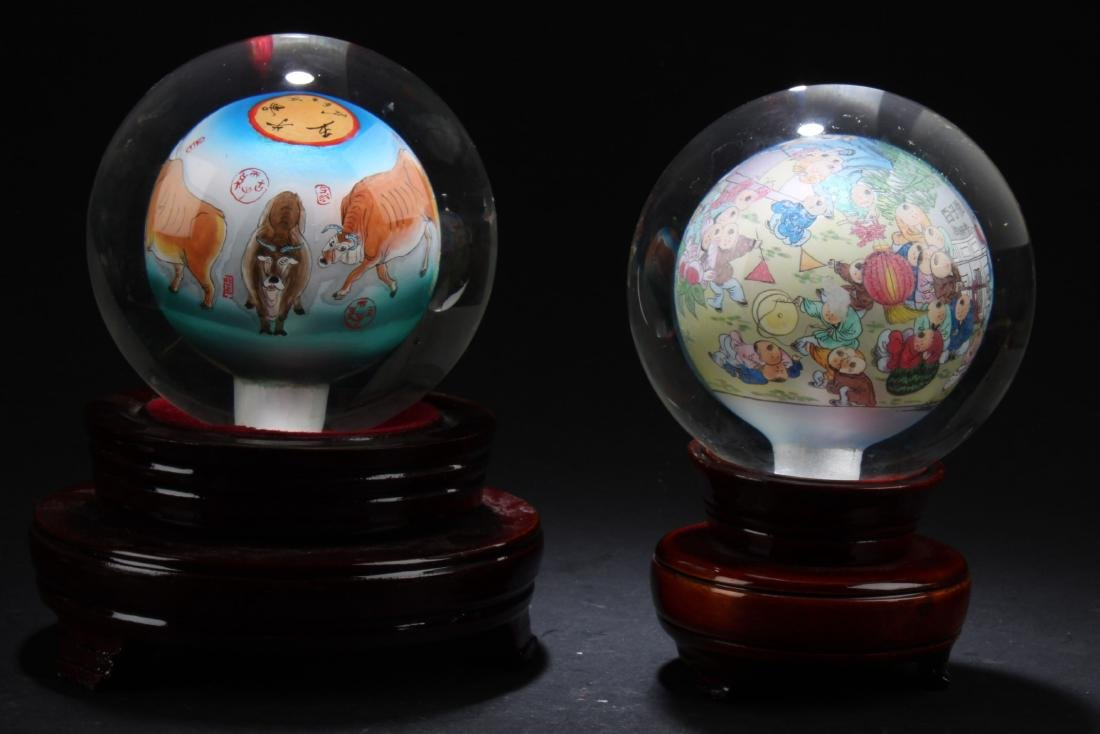 A Pair of Decorative Balls with Stand