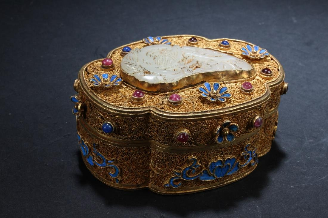 Chinese Gilt Silver, White Jade and Stone Covered Box