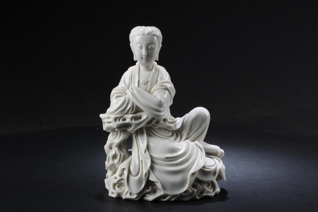A Chinese Blanc De Chine Bodhisattva Statue