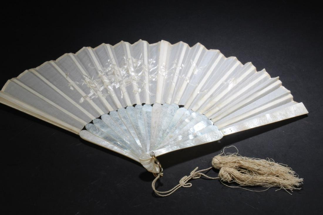 Antique Chinese Pearl Folding Fan