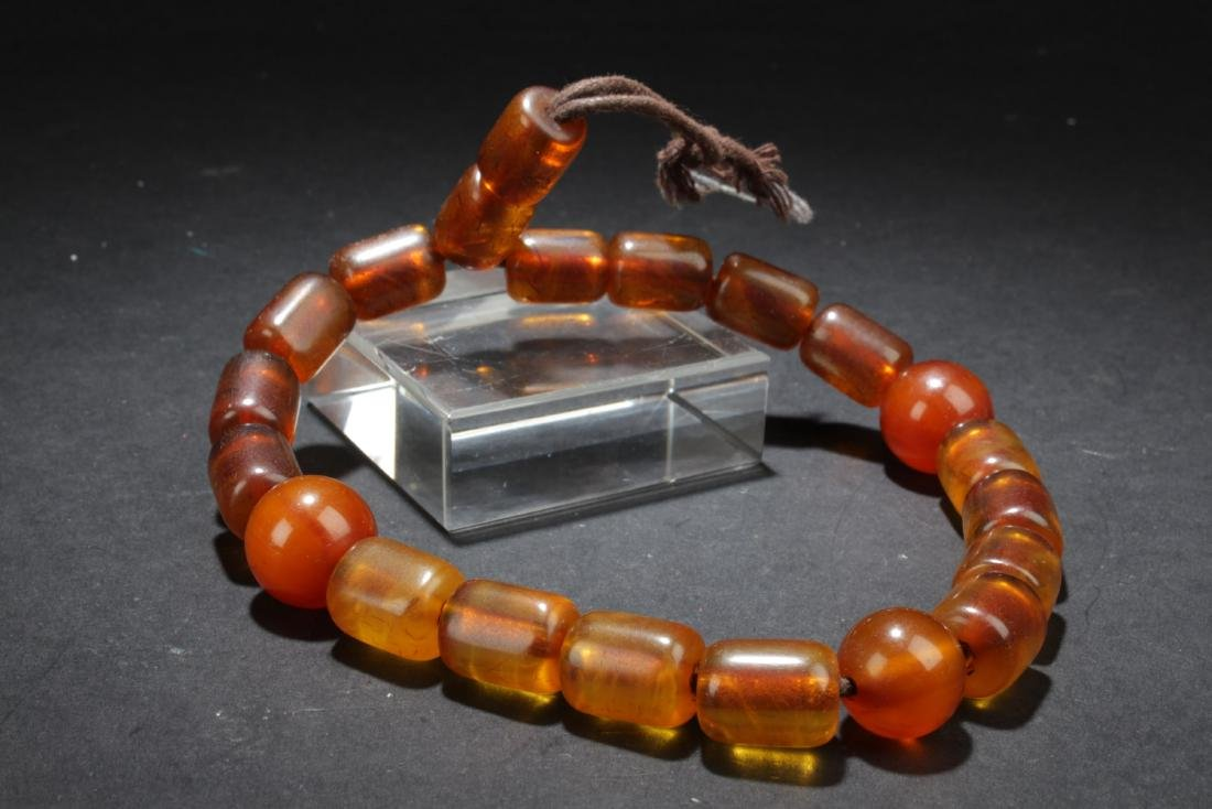 Chinese Amber Prayer Beads