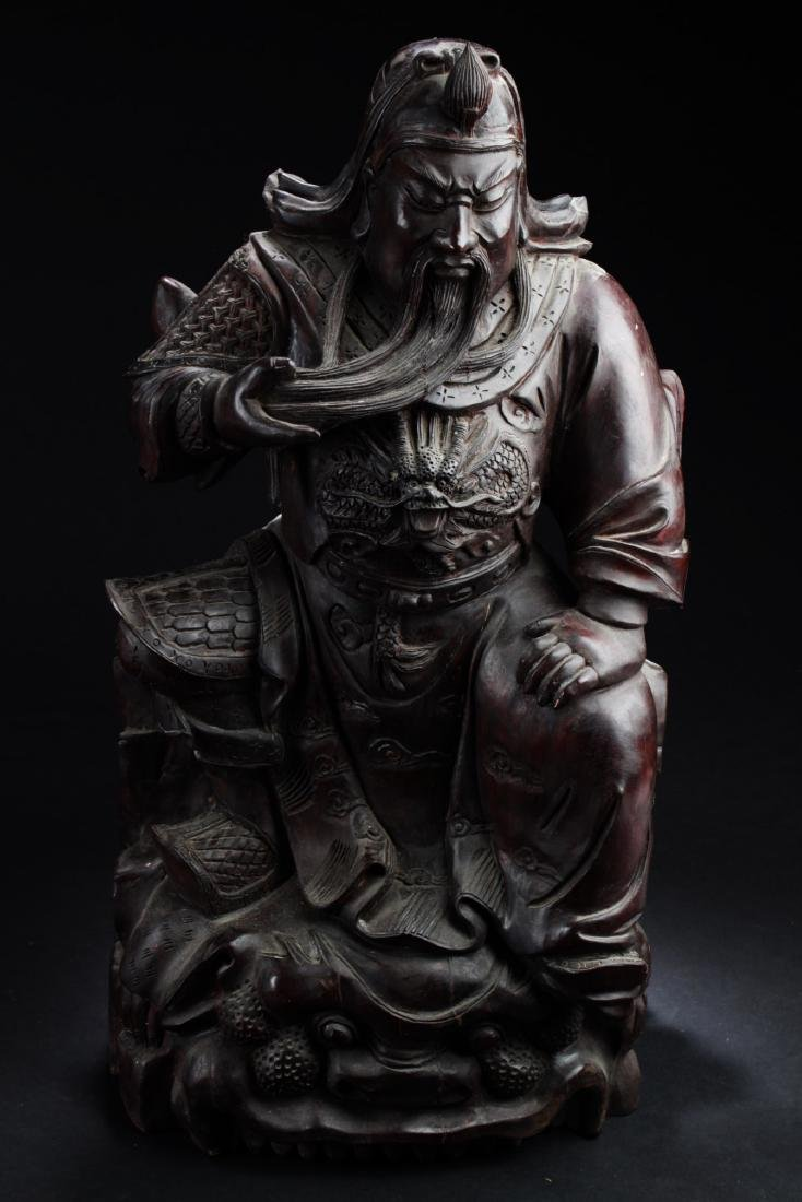 Chinese Guanyu Wooden Carved Statue