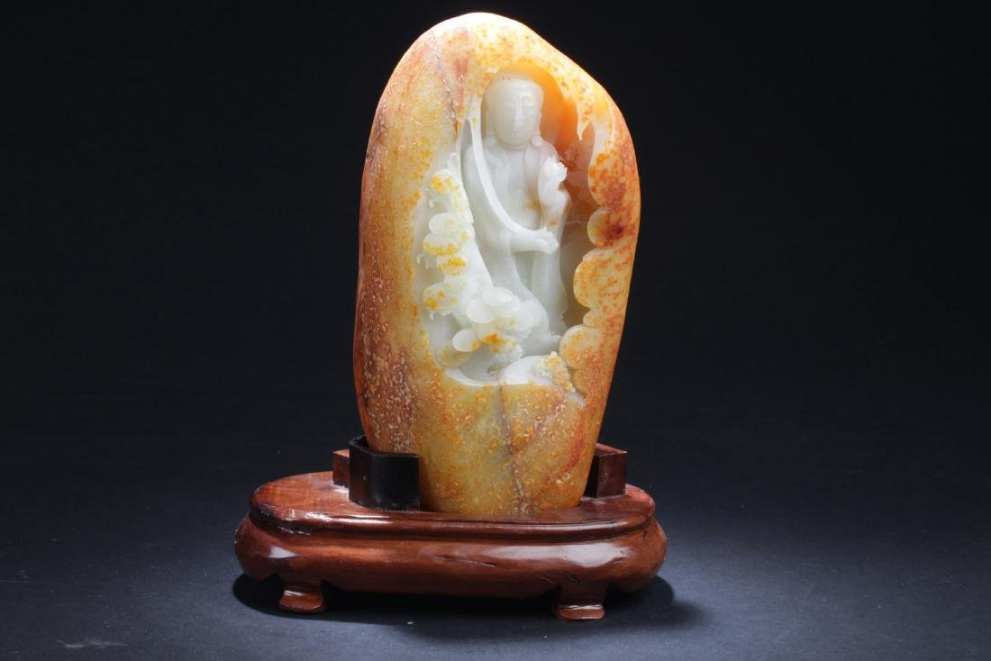 Chinese Jade Carved Buddha Statue