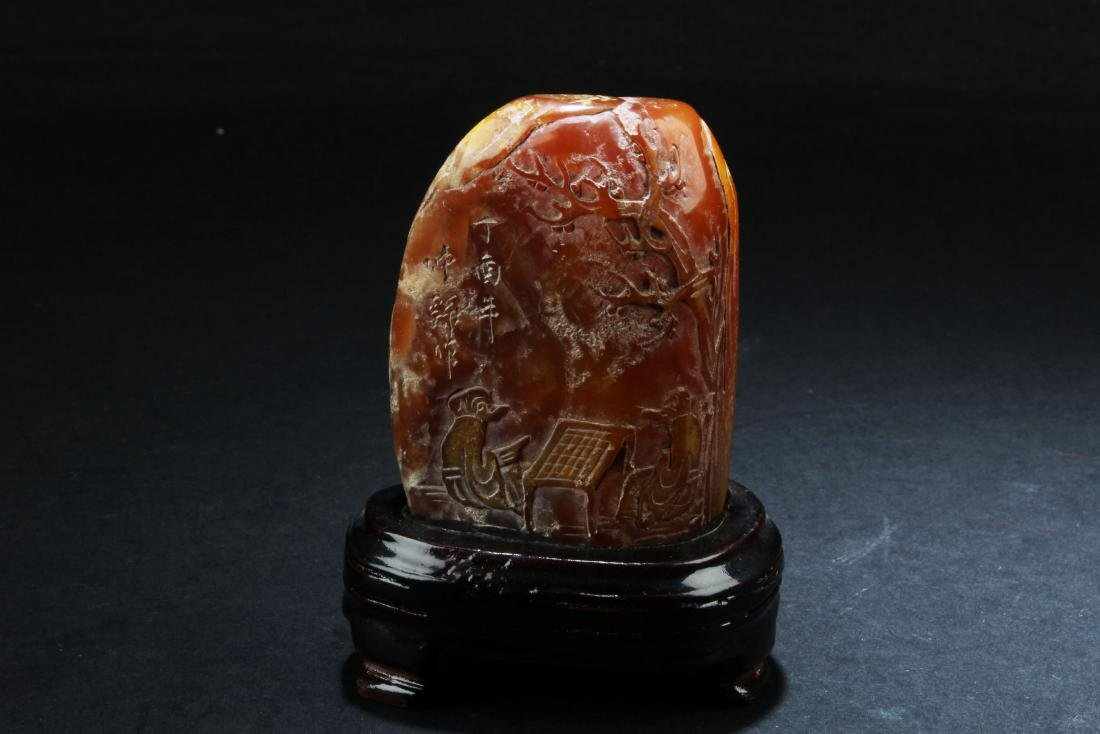 Chinese Soapstone Ornament with Wooden Stand