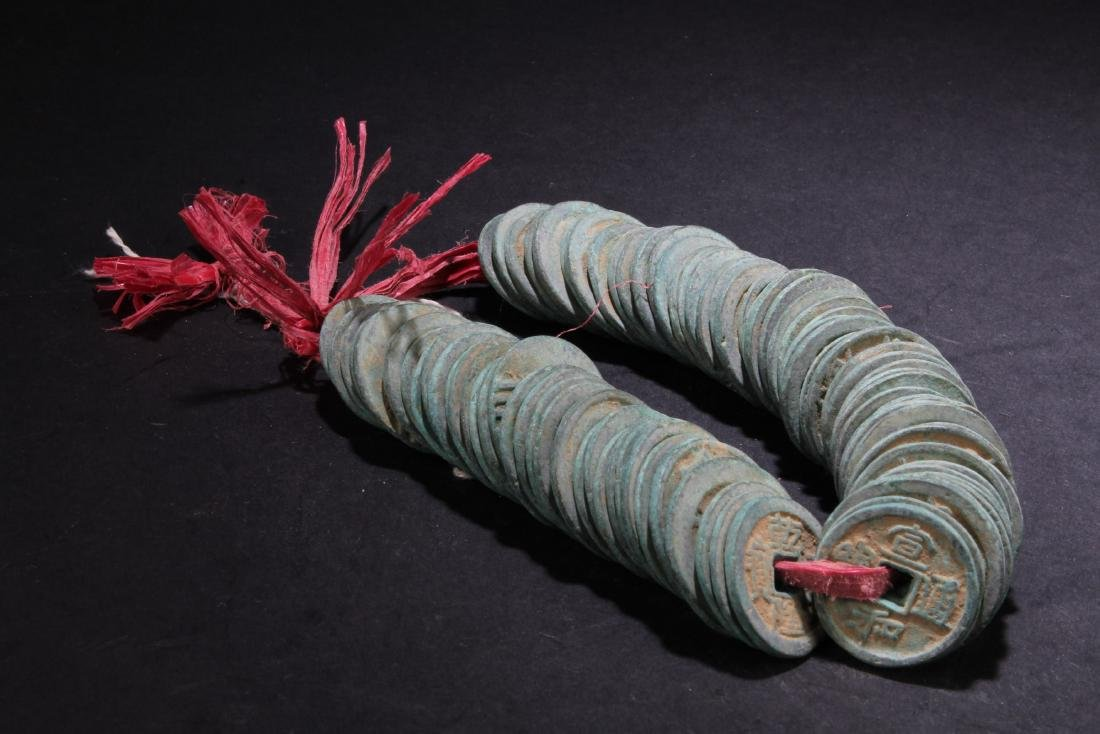 A String of Chinese Copper Coins