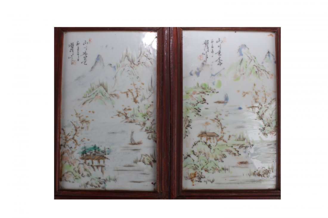 A Pair of Antique Chinese Framed Porcelain Painting