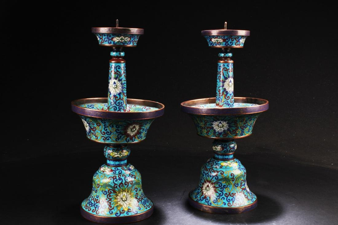 A Pair of Antique Chinese Cloisonne Candle Holders