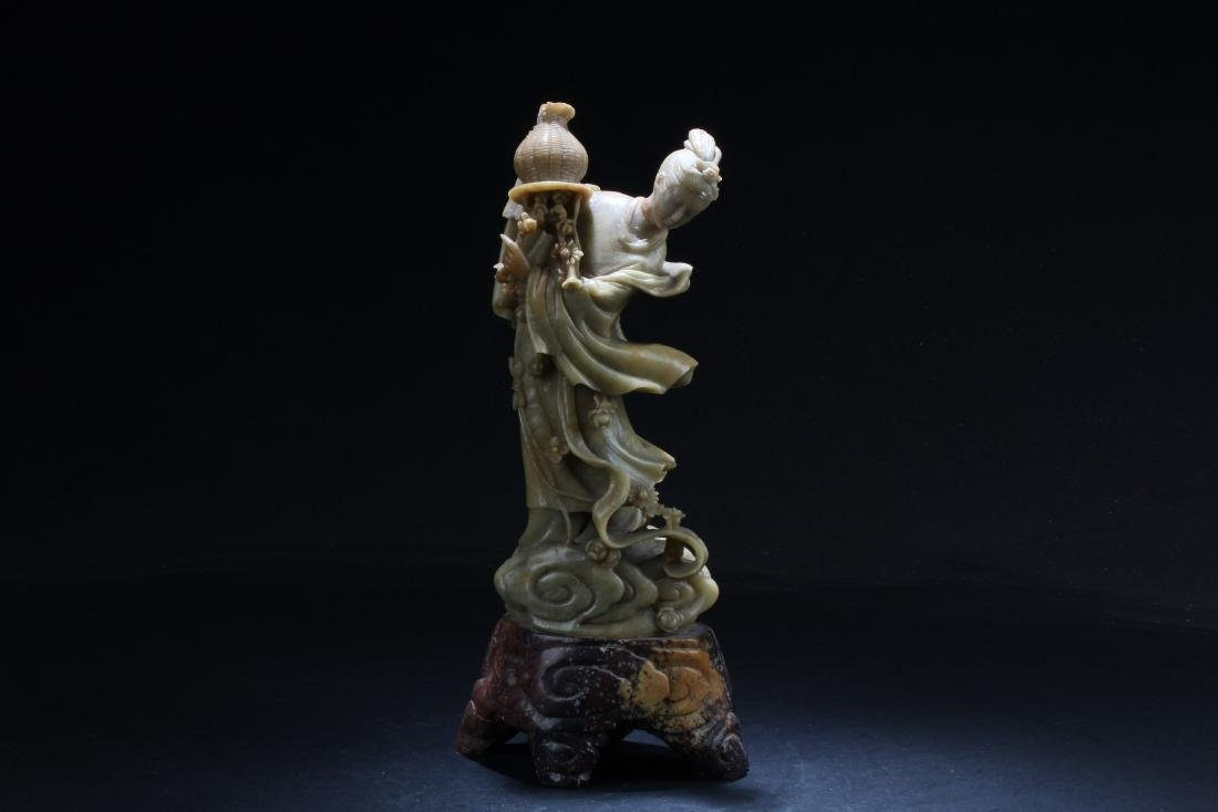 Chinese Soapstone Carved Maiden Statue