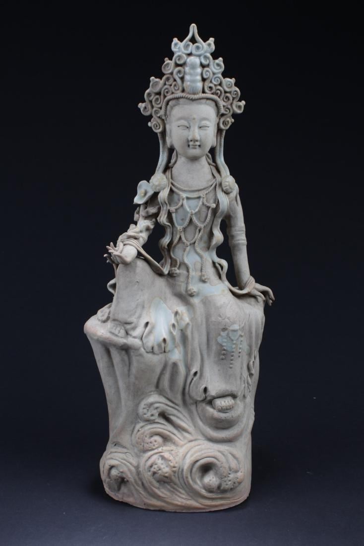 Antique Chinese Porcelain Bodhisattva Statue