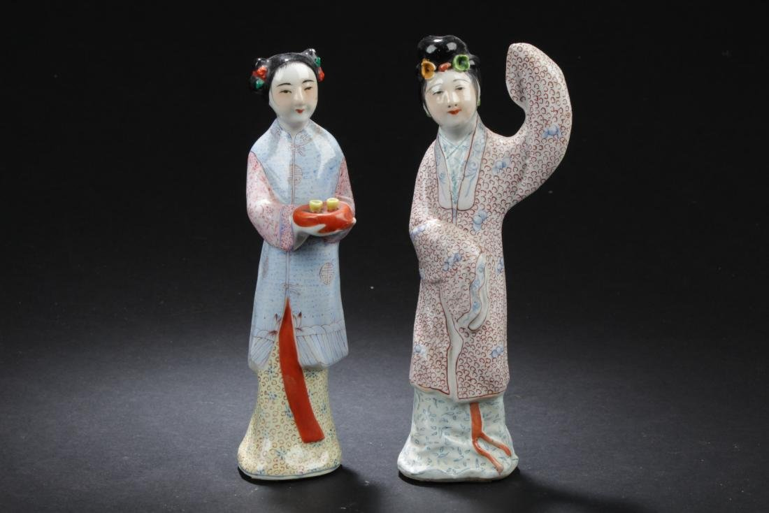 Two Chinese Porcelain Figure Statues