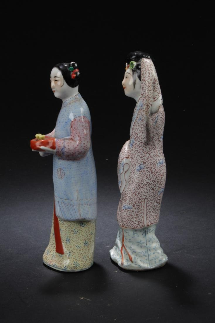 Two Chinese Porcelain Figure Statues - 4