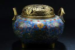 Chinese Cloisonne Tripod Hand Warmer With Handles