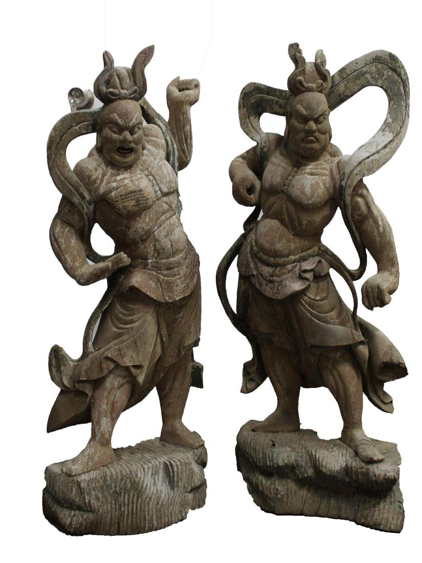 Two Wooden Carved Chinese 'Heavenly King' Statues