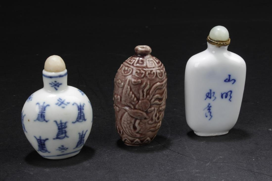 A Group of Three Antique Chinese Snuff Bottles