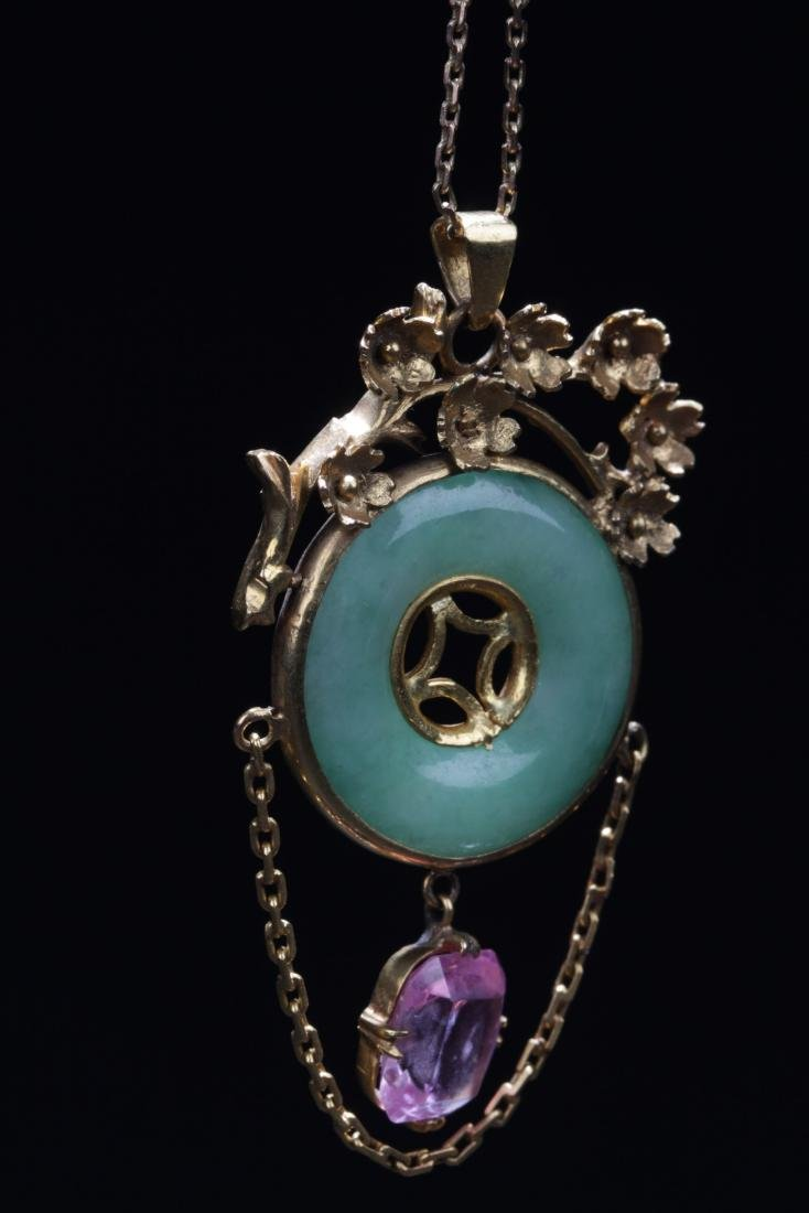 Chinese Jadeite Pendant and Necklace