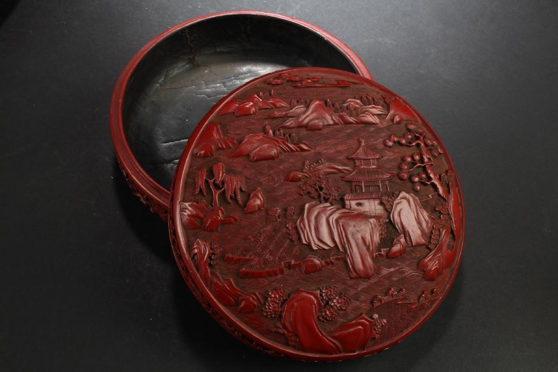 Chinese Cinnabar Lacquered Round Box