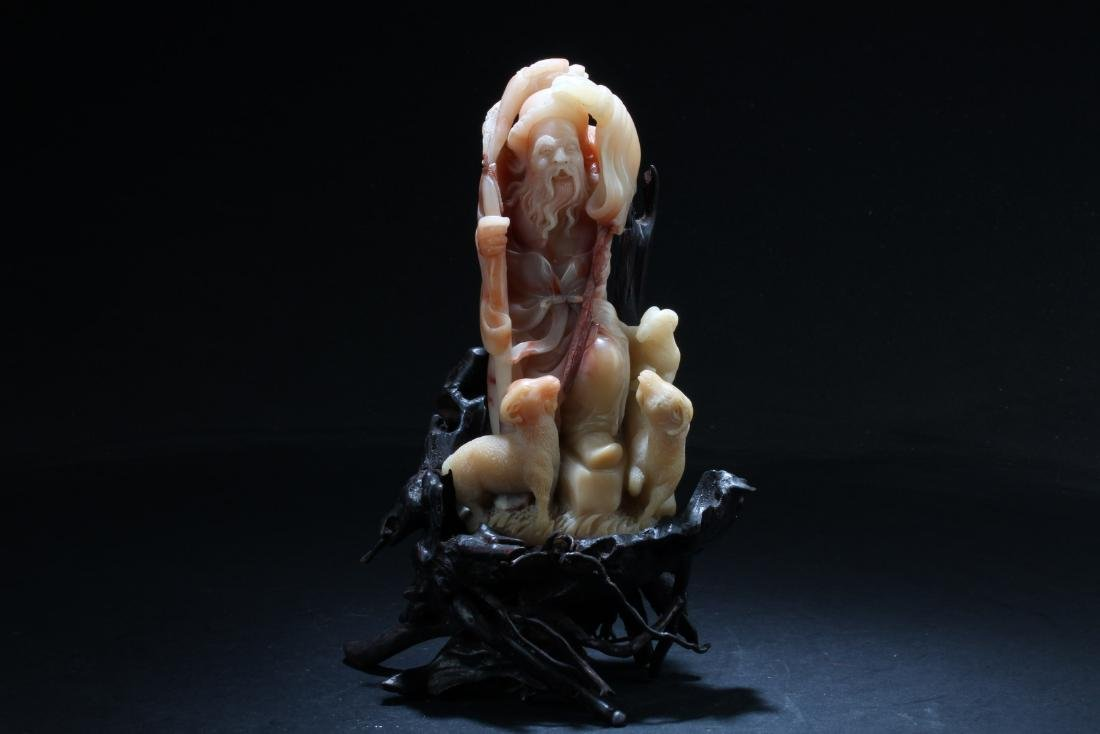 Chinese Shoushan Soapstone Carved Statue
