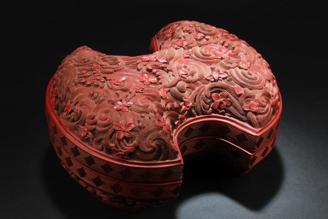 Chinese Cinnabar Lacquer Bat Shaped Container