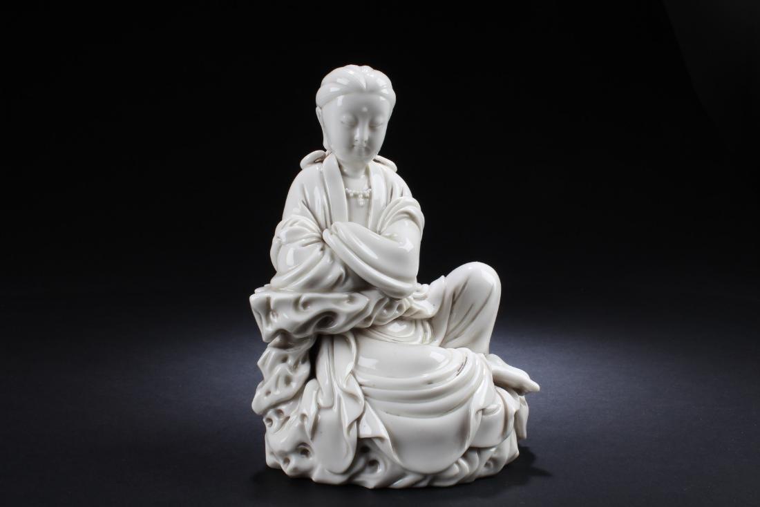 Chinese Blanc De Chinese Bodhisattva Statue