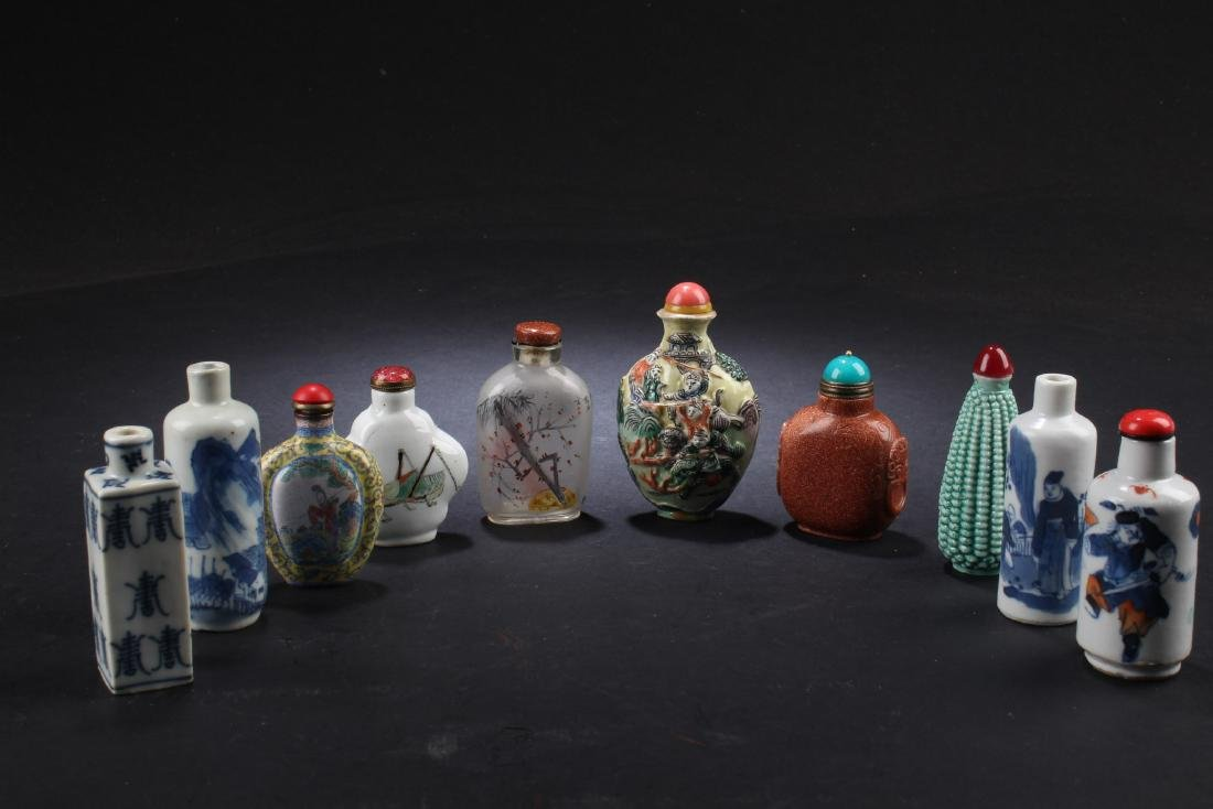 A Collection of Ten Snuff Bottles