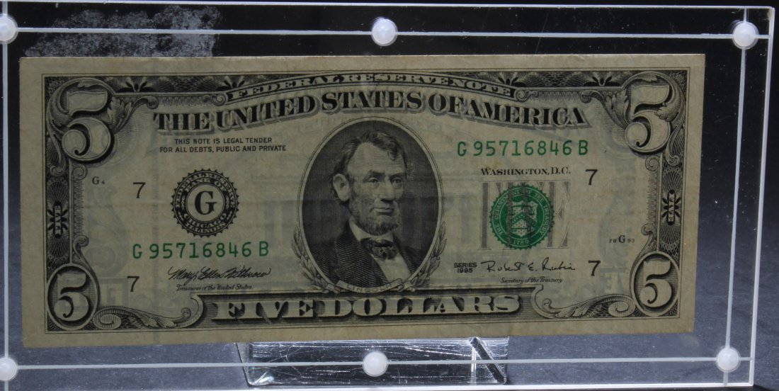 US Five Dollar Note, serial #G95716846B