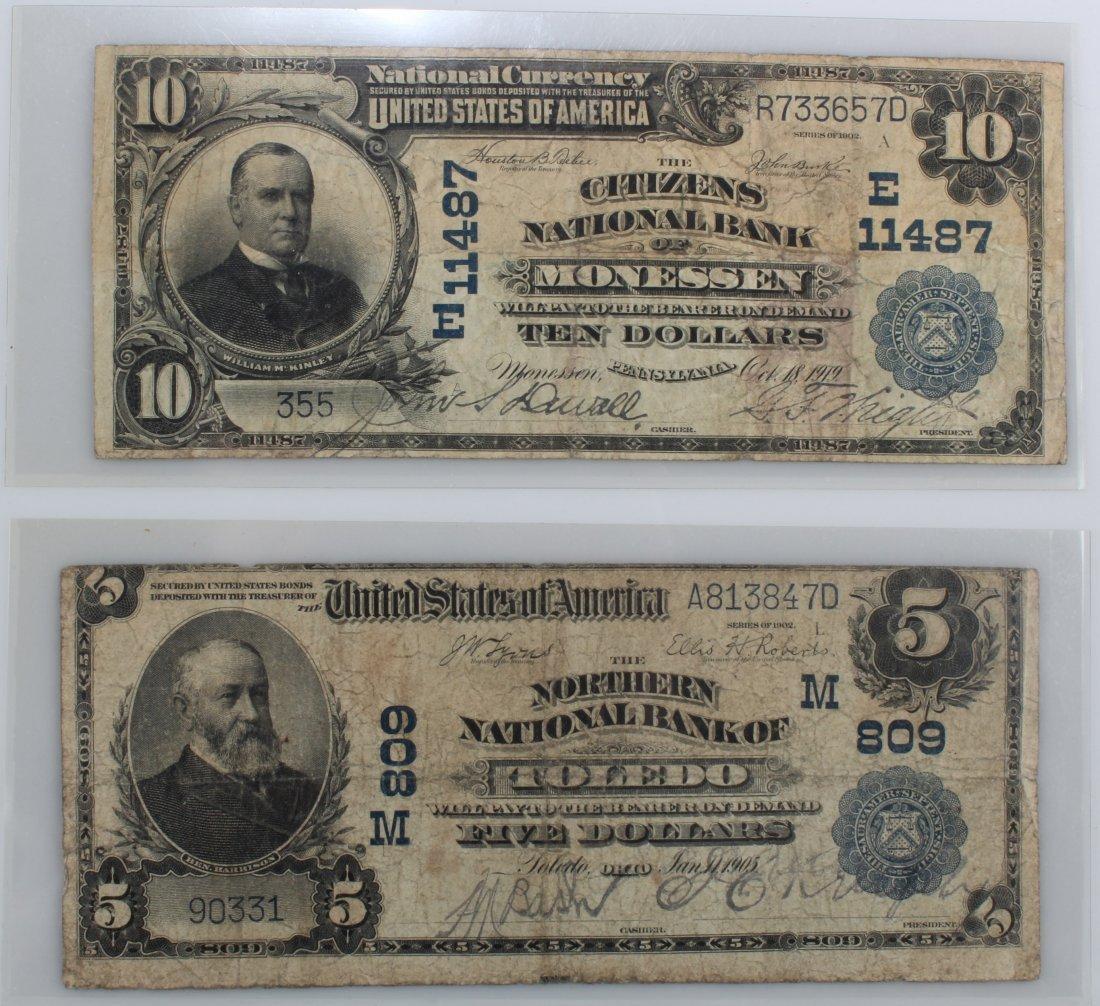 US Ten Dollar & Five Dollar Note, Serial # R733657D,