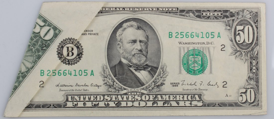 US Fifty Dollar Note, Serial # B25664105 A