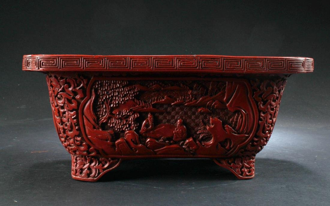 Chinese Cinnabar Lacquered Rectangular Container