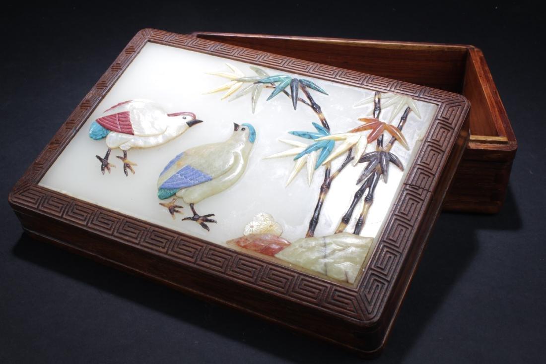 Antique Chinese Hardwood Box with Jade Inlay